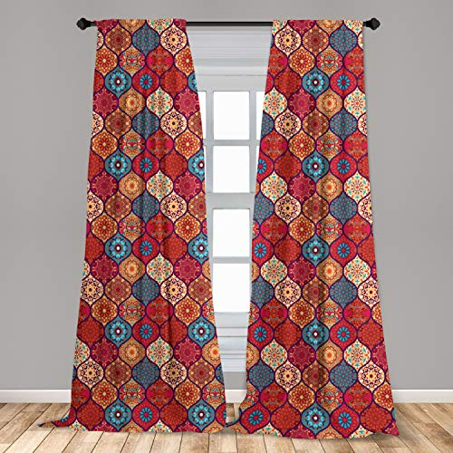 """Ambesonne Moroccan Curtains, Oriental Wavy Curvy Pattern with Spring Nature Inspired Retro Style Art Motifs, Window Treatments 2 Panel Set for Living Room Bedroom Decor, 56"""" x 63"""", Ruby Orange"""