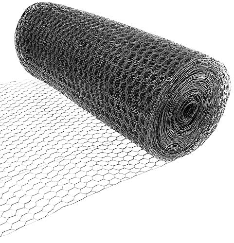 Fencer Wire 16 Gauge Black Vinyl Coated Hex / Poultry Netting Mesh 1.5' (3 ft. x 150 ft.)
