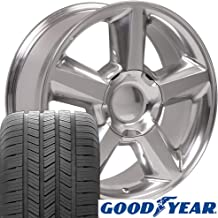 SET of 20x8.5 Wheels & Tires Fit GMC Chevy & SUV - Chevy Tahoe Style Polished Rims, Hollander 5308 w/Goodyear Tires