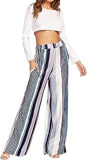 Eldori ワイドパンツ ガウチョパンツ ユニセックス タイパンツ スカンツ デザイナ かっこいい アジアンパンツ 衣装 ストライプ シンプル カジュアル ウエストゴム リネン