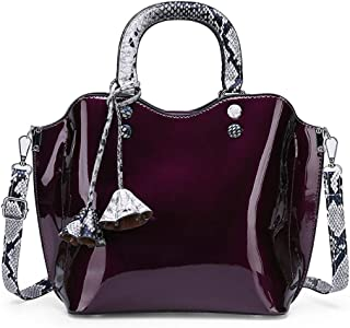Wultia - Luxury Patent Leather Handbags 3PCS Lacquered Shoulder Crossbody Bag Casual Tote Messenger Bags Set Clutch Feminina #G8 Purple