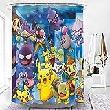Shower Curtain 180 X 200 cm Duschvorhangwaschbar Antischimmel Polyester Pokémon Anime Pikachu Mit 12 Duschvorhang Ring