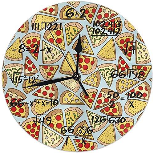 L.Fenn Wandklok Pizza Plakjes Blauw Junk Voedsel Yummy Kaas Muur Klok Stille Niet Teken -Rond Makkelijk Te Lezen Voor Thuis/Kantoor/School Klok