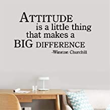 Wall Decal Wall Written Vinyl Wall Decals Quotes Sayings Words Lettering Attitude is a Little Thing That Makes a Big Difference. Winston Churchill Inspirational Motivational for Bedroom Living Room