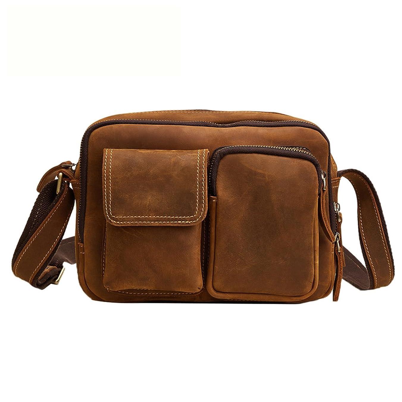 熱心十億派生するGenda 2Archer(JP) ショルダーバッグ メンズ 斜めがけ 本革 横型 おしゃれ 肩掛けバッグ 小型 ipad mini収納 通勤 通学 旅行 ブラウン コーヒー