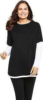 Women's Plus Size Layered-Look Crewneck Tee Shirt