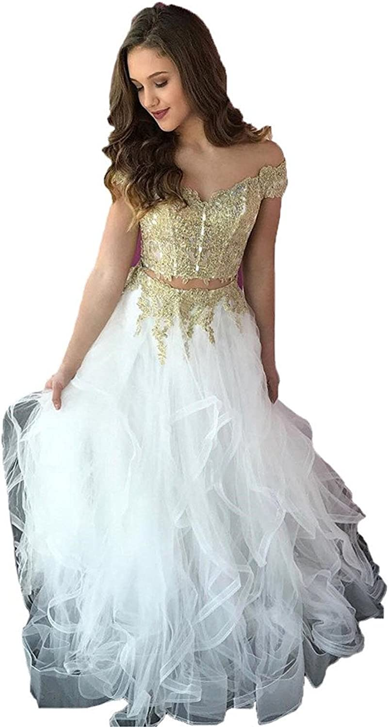 CCBubble 2 Piece Prom Dresses 2018 Cap Sleeves Lace Evening Formal Gowns