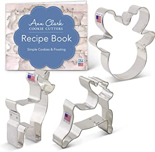 Ann Clark Cookie Cutters 3-Piece Reindeer/Deer Cookie Cutter Set with Recipe Booklet, Reindeer Head, Fawn/Deer, Reindeer