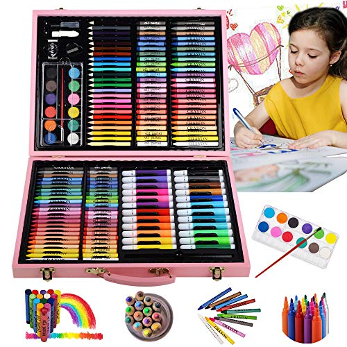 KINSPORY 162 PCS Portable Coloring Art Set Painting & Drawing Supplies Kit, Watercolour Pencils, Oil Pastels, Crayons, Colour Pencils, Watercolour Cakes, Palette, Brush with Wooden Art Case - Pink