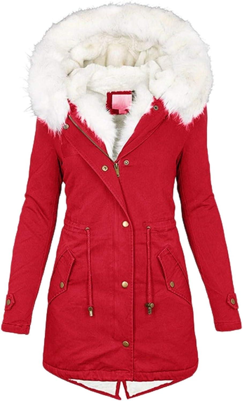 Womens Hooded Faux Fur Lined Warm Coats Parkas Outwear Winter Long Jackets Trench Coat Cardigan