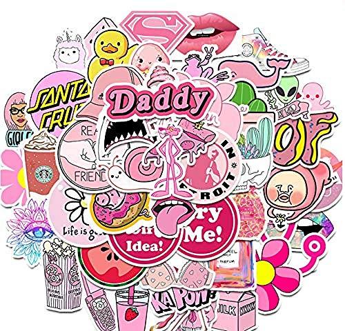 YRBB 50st roze leuke stickers graffiti-stickers voor DIY stickers op reis val laptop skateboard gitaar koelruimeltelefoon