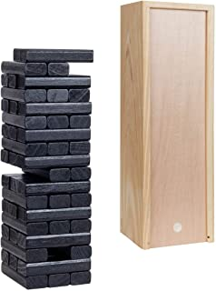 WE Games Wood Block Toppling Party Game - Includes 12 in. Wooden Box and die - with Black Blocks