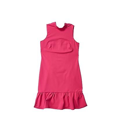 Calvin Klein High Neck Dress with Ruffle Hem (Hibiscus) Women