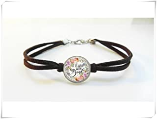 It is well with my soul bracelet, Leather Bracelet,Dome glass jewelry, pure handmade