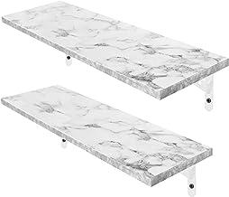 Magicfly Wall Mounted White Floating Shelves, Waterproof Long Wood Shelf, Display Ledge Large Storage Shelves for Bedroom,...