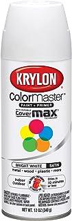Krylon K05351707 ColorMaster Paint + Primer, Satin, Bright White, 12 oz.