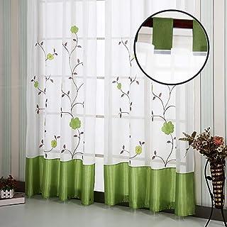 SIMPVALE 2 Piezas Moderno Cortinas Visillos de Bordado Floral para Cámara Dormitorio Cocinas Balcon Salón Habitación, 140cm x 145cm, Verde