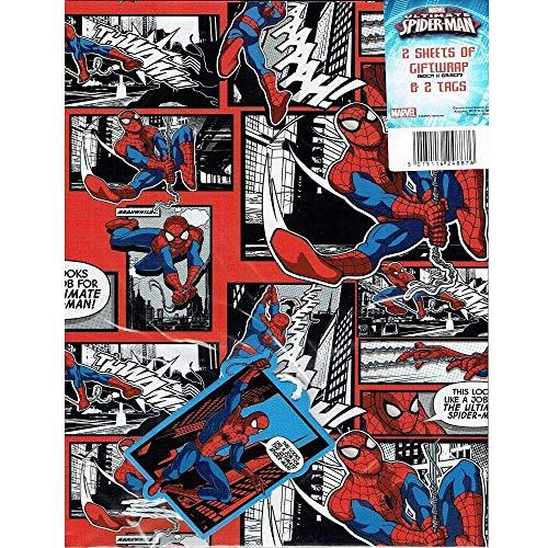 The Home Fusion Company Marvel Ultimate Spider-Man Geschenkverpackung und Etiketten Set - 2 Bögen 2 Anhänger