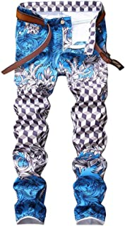 LUKEEXIN Men's Casual Pants Pants Printed Pattern Slim Fit Feet Tight
