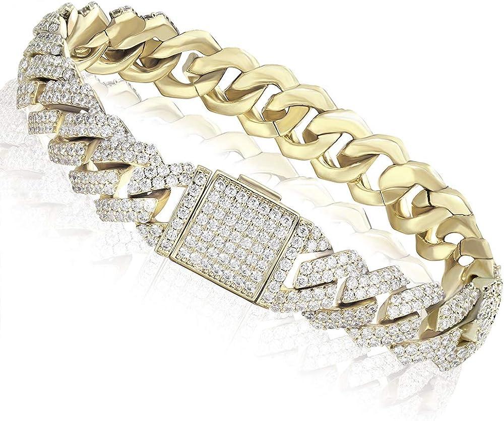 Luxfine Ranking TOP20 12mm Translated Cuban Link Bracelet Hypoallergenic REAL Gold Pl 14K