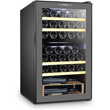 La Sommelière SLS33DZ - Cantinetta per vino a doppia zona, 33 bottiglie, sistema anti-vibrazione e igrometria regolabile, colore: Nero con illuminazione interna LED