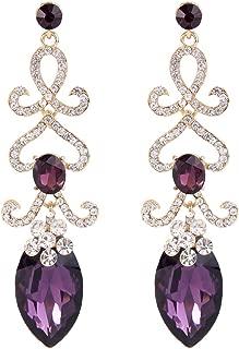 BriLove Women's Fashion Crystal Wedding Bridal Hollow Flower Love Heart Chandelier Dangle Earrings