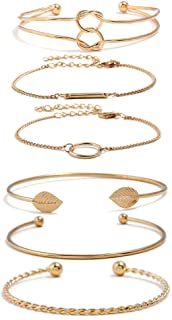 Yellow Gold Plated Inspirational Love Knot Stackable Open Cuff Bangle Bracelet Set for Women Girls