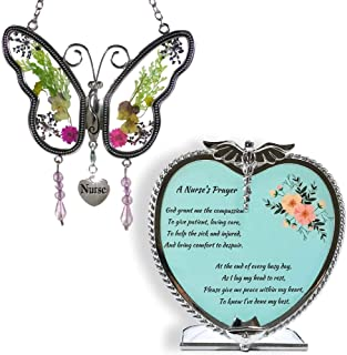 BANBERRY DESIGNS Nurse Gift Set Butterfly Suncatcher with Pressed Flower Wings & Candleholder - Gifts for Nurses - Nurse Practitioners - Nurse Gifts - Nurse Graduation Gifts