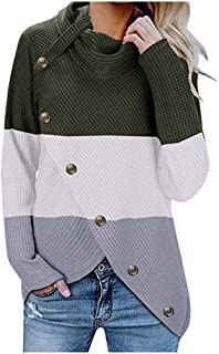 Women Sweater with Button Turtleneck Streetwear Patchwork Long Sleeve Top Leisure Blouse