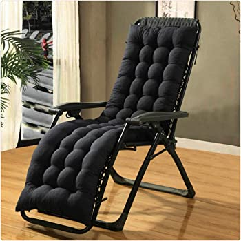 Black Sun Lounger Cushions,71-Inch Lengthen Thickened Foldable Replacement Sunbed Cushion Cover Pad with 6 Pairs Bands Relaxer Chair Seat Cover for Travel Holiday Garden Indoor Outdoor,no chairs