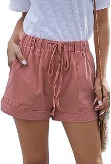 UUYUK Women Casual Loose Summer Solid Waist Elastic Wide Leg Pockets Beach Shorts