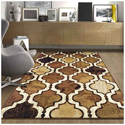 Superior Modern Viking Collection Area Rug, 10mm Pile Height with Jute Backing, Chic Textured Geometric Trellis Pattern, Anti-Static, Water-Repellent Rugs - Brown, 8' x 10' Rug