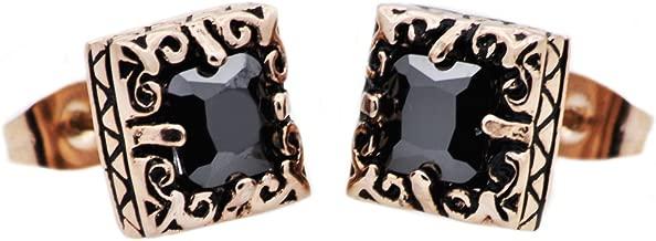 Blackjack Jewelry Mens Stainless Steel Cubic Zirconia Earrings