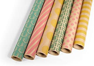 Note Card Cafe Kraft All Occasion Wrapping Paper | 6 Pack | 30 x 120 inch Rolls | Green, Pink, Yellow | for Birthdays, Weddings, Showers, Gifts, Holidays. Christmas | Recyclable, Biodegradable