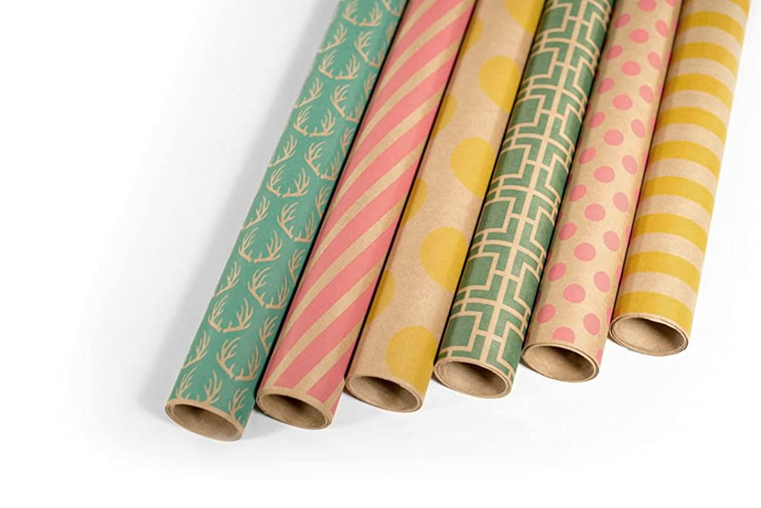Kraft Multi Color Printed Wrapping Paper Set - 6 Rolls - Multiple Patterns - 30