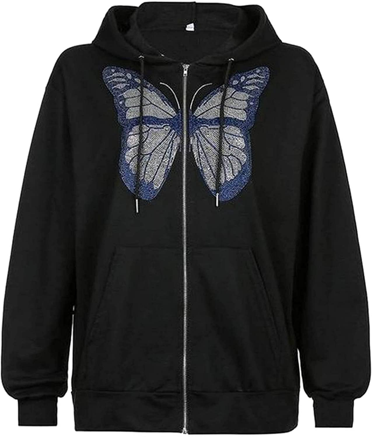 Pandaie Butterfly Print Cardigan Sweatshirts for Women Fashion Full Zip Shirts Pullovers with Hoodie Cardigan Jacket