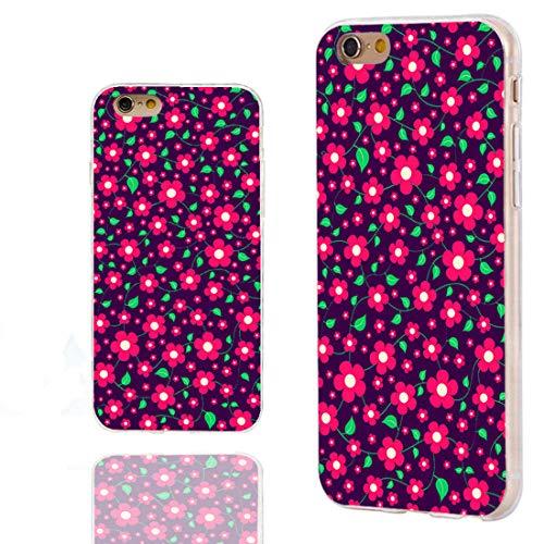 Funda para iPhone 6S, iPhone 6, funda para iPhone 6 6S de 4,7 pulgadas, ChiChiC [Serie floral] Full Protective Slim Flexible Durable Soft TPU Carcasas, diseño floral blanco sobre fondo azul