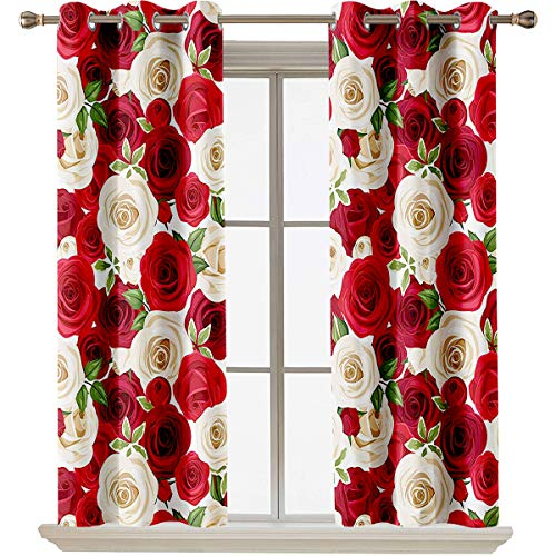 "Roses Decorations Collection best home fashion thermal insulated blackout curtains Bunch of Colorful Roses Blooms Leaves Luxury Natural Close Up Artwork Colorful heat insulation curtain W55""x L45"" Re"