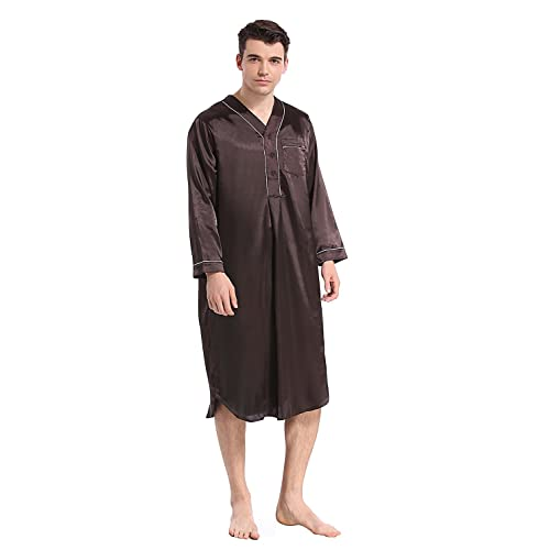 8966707d4fde Like2sea Silky Satin Nightshirt for Men