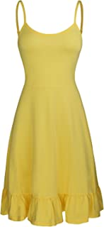 OUGES Women's Adjustable Spaghetti Strap Sleeveless Summer Beach Slip Dress