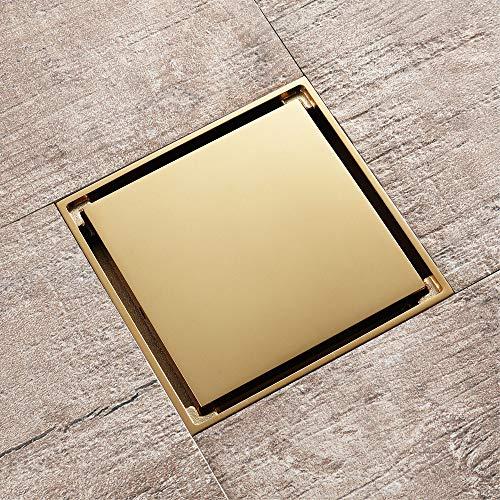 Quadratischer Duschbodenablauf, Einsätze aus geruchsneutralen Badfliesen im Bodenablauf, mit abnehmbarem Filterbezug, Oberfläche aus Kupferchrom, verstopfungsfrei, geeignet für Küche, Waschraum, Hotel
