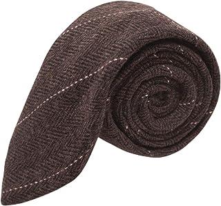 King & Priory Corbata de lujo de tela tweed en espiguilla marrón chocolate