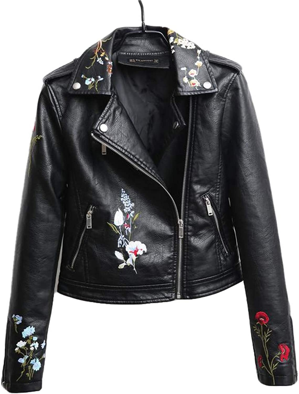 Fashion Women Zipper Embroidered Leather Jacket Pu Leather Motorcycle Jacket