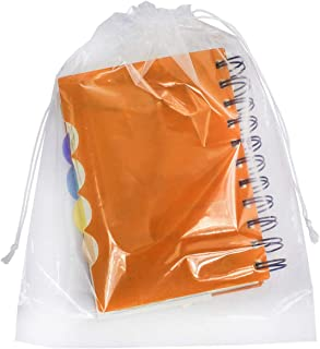 APQ Pack of 50 Clear Drawstring Bags 9 x 12. Double Cotton Drawstrings Polyethylene Bags 9x12. Thickness 2 mil. Plastic Bags for Packing and Storing. Ideal for Industrial and Business Applications.