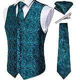 DiBanGu Ensemble de gilet et cravate cachemire avec poche et boutons de manchette carrés pour smoking - Turquoise - XL