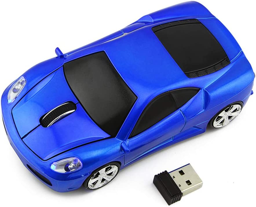 Ai5G 3D Racing Car Mouse Wireless Sports Car Mouse Computer Mice 2.4GHz 1600dpi Optical Gaming Mice (Blue)