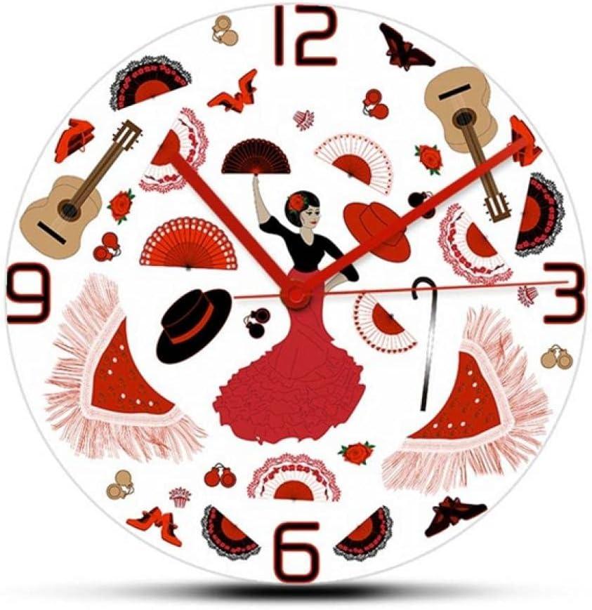 LTMJWTX Flamenco Dancer New sales Super-cheap Elements Modern Spanis Wall Clock Design