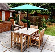GlamHaus Garden Parasol Table Umbrella for Outdoors, UV 40+ Protection, Crank Handle, 2.7m, Gardens and Patios - Robust Steel (Green)