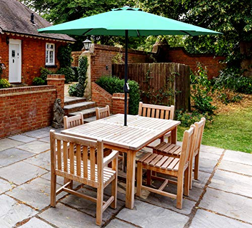 GlamHaus Garden Parasol Table Umbrella for Outdoors, UV 40+ Protection, Additional Parasol Protection Cover, Crank Handle, 2.7m, Gardens and Patios - Robust Steel (Green)