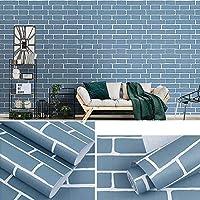 砂壁に貼れる壁紙,レンガパターン防水自己接着壁紙、リビングルームの背景の壁シミュレーション壁タイル、-青1_0.45 * 10m